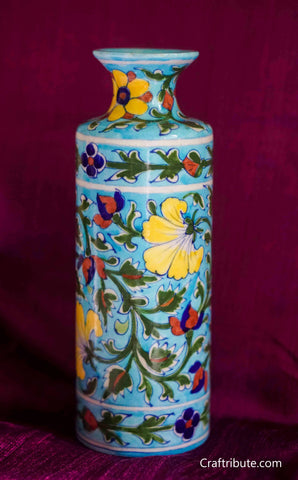 Hand Painted Vertical Clay Vase