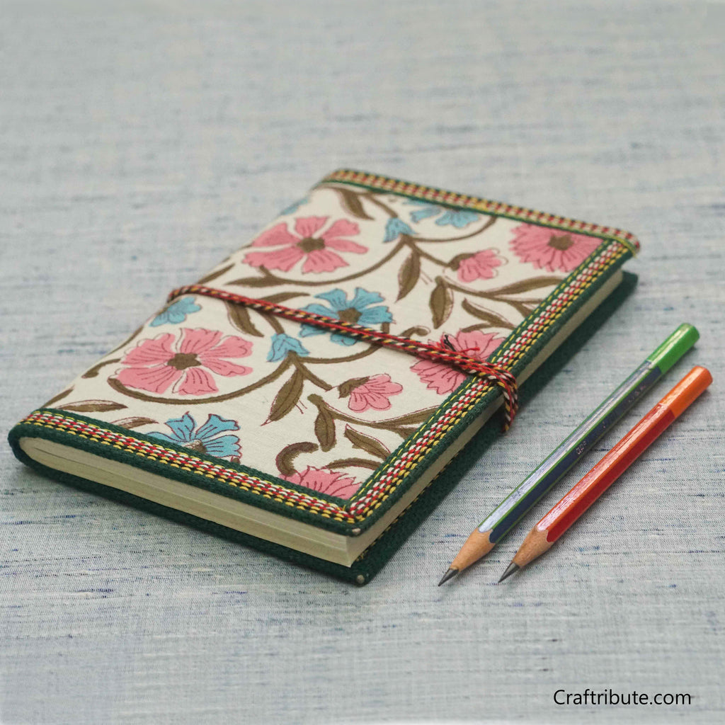 Handmade Paper Notebook with Pink & Blue Floral Design