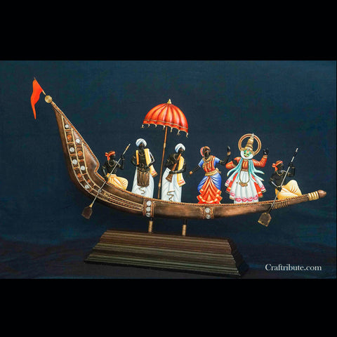 Handcrafted Wrought Iron Musicians Sailing in a Boat
