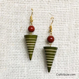 Conical Wooden Earrings - Green & Red