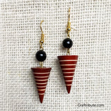 Conical Wooden Earrings - Red & Black