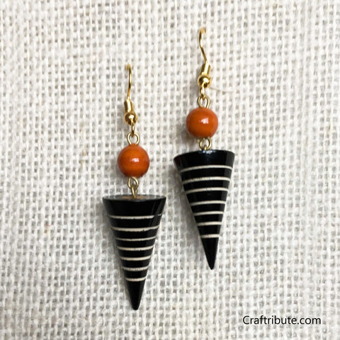 Conical Wooden Earrings - Black & Orange