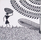 Warli Paintings Set- Tree (Black & White)