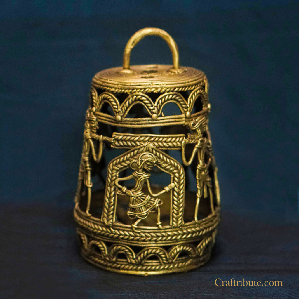Handcrafted Dhokra Brass Lamp - Tribal Dance