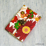 Handmade Paper Notebook with lock - Red and White Floral design