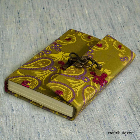 Handmade Paper Notebook with lock - Yellow & Purple Floral design