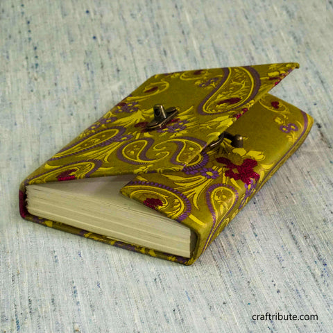 Handmade Paper Notebook with lock - Green & Pink Floral design
