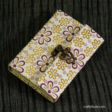 Handmade Paper Notebook with lock - Purple & Yellow Floral design