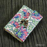Handmade Paper Notebook with lock - Blue & Pink Floral design