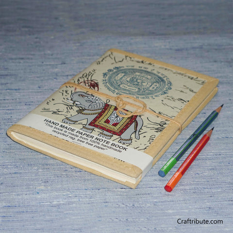 Handmade Paper Notebook With Royal Elephant Design - Large