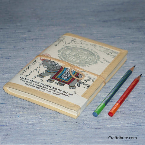 Handmade Paper Notebook With Royal Elephant Design - Medium