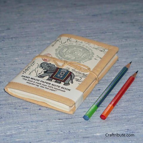 Handmade Paper Notebook With Royal Elephant Design - Small
