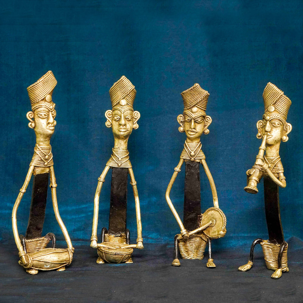 Handcrafted Dhokra Figurines - Set of Four Men Playing Musical Instruments