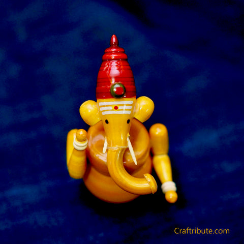 Handcrafted Wooden Ganesh Idols - Multicolour Set