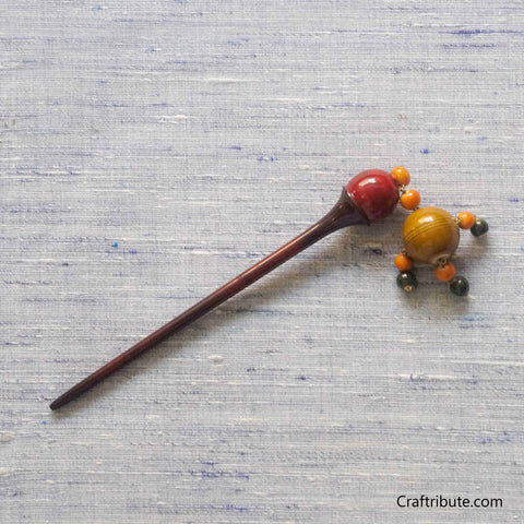 Wooden Bun Hair Stick (Juda Stick) with tassels