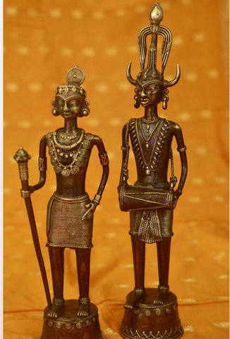 Handcrafted Dhokra Tribal Couple - Medium