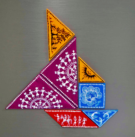 Magnetic Tangram Puzzle with Warli designs