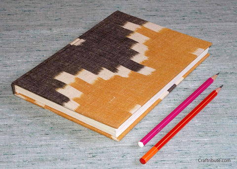 Handmade Paper Notebook with yellow and grey Ikat design