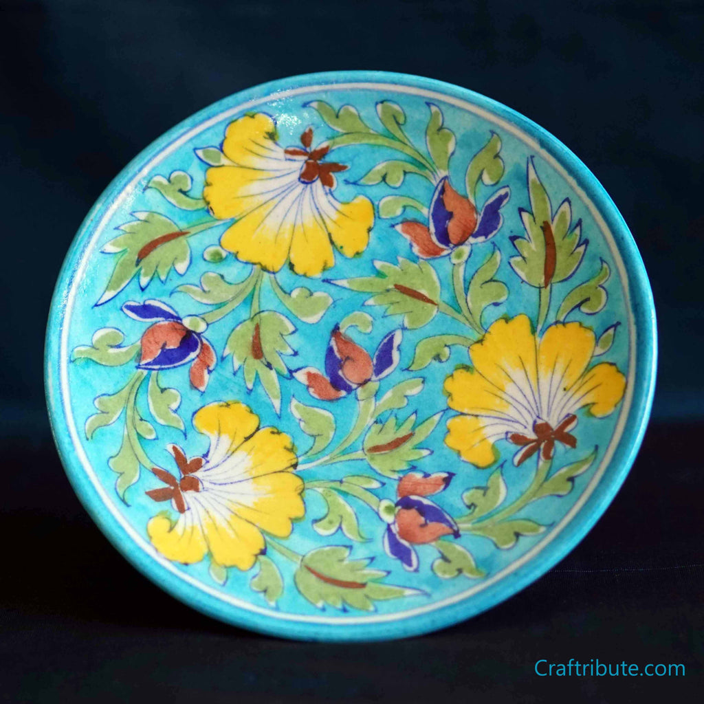 Light Blue Hand Painted Decorative Plate