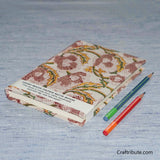 Handmade Paper Notebook With Light Brown and Yellow Floral Design