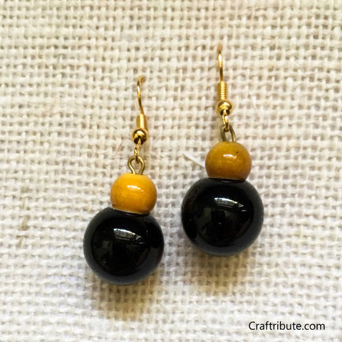 Kamandalu Shape Wooden Earrings - Yellow & Black