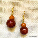 Kamandalu Shape Wooden Earrings - Orange & Red