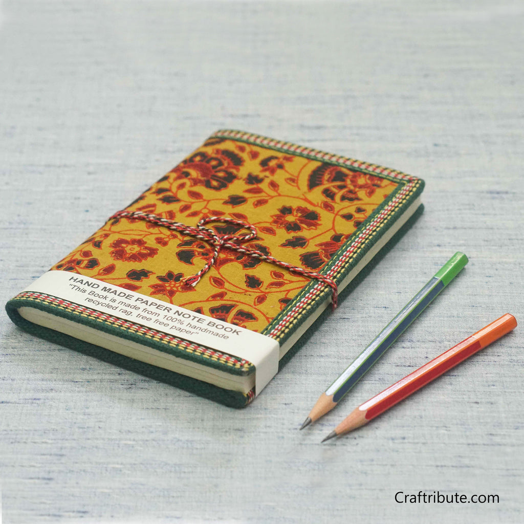 Handmade Paper Notebook with Red & Black Floral Design