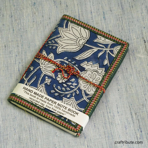 Handmade Paper Notebook with Blue & White Floral Design