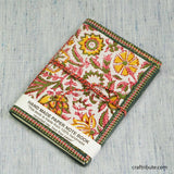 Handmade Paper Notebook with Delicate Pink & Green Floral Design