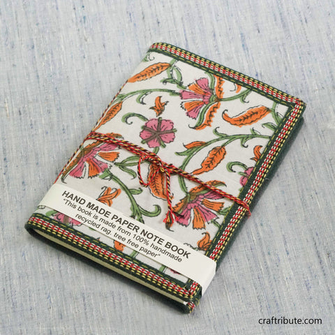 Handmade Paper Notebook with Pink & Orange Floral Design
