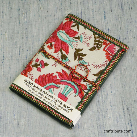 Handmade Paper Notebook with Red & Green Floral Design