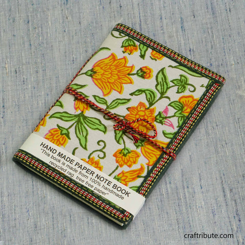 Handmade Paper Notebook with Bright Yellow Flowers