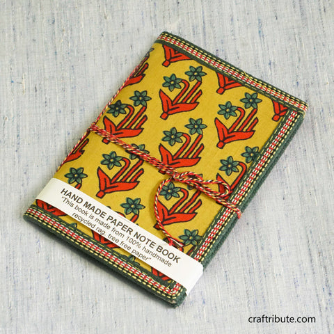 Handmade Paper Notebook with Bright Red Floral Design on Yellow Background