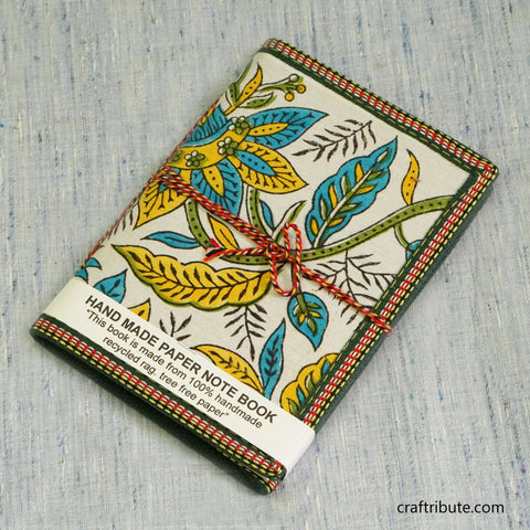 Handmade Paper Notebook with Bright Blue & Yellow Floral Design