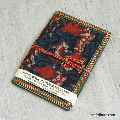Handmade Paper Notebook with Deep Blue & Red Floral Design