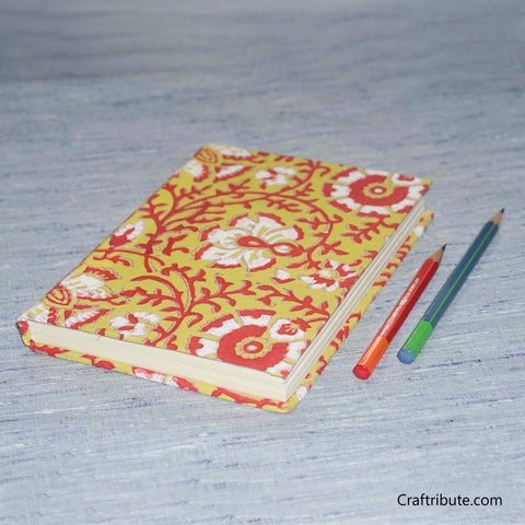 Handmade Paper Notebook With Red and White Floral Design