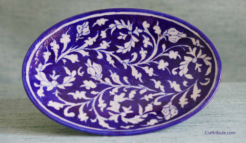 Handpainted Indigo Decorative Plate