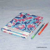 Handmade Paper Notebook With Blue & Pink Floral Design