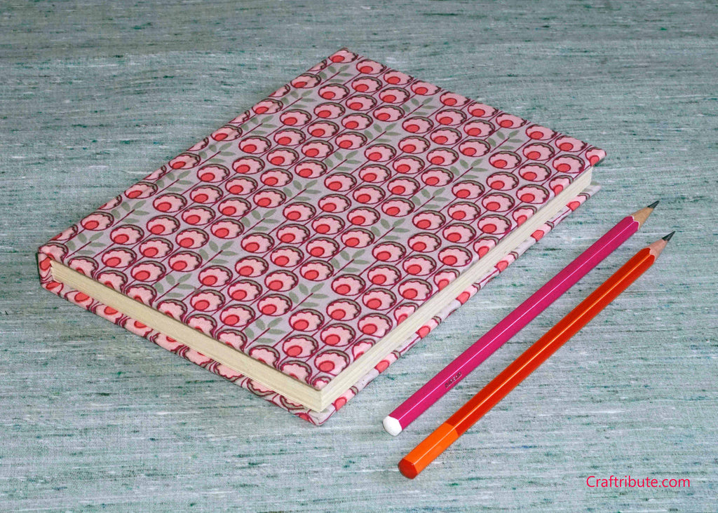 Handmade Paper Notebook with pink flowers