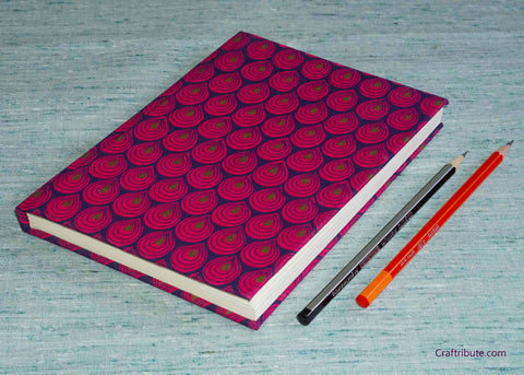 Handmade Paper Notebook with pink droplets