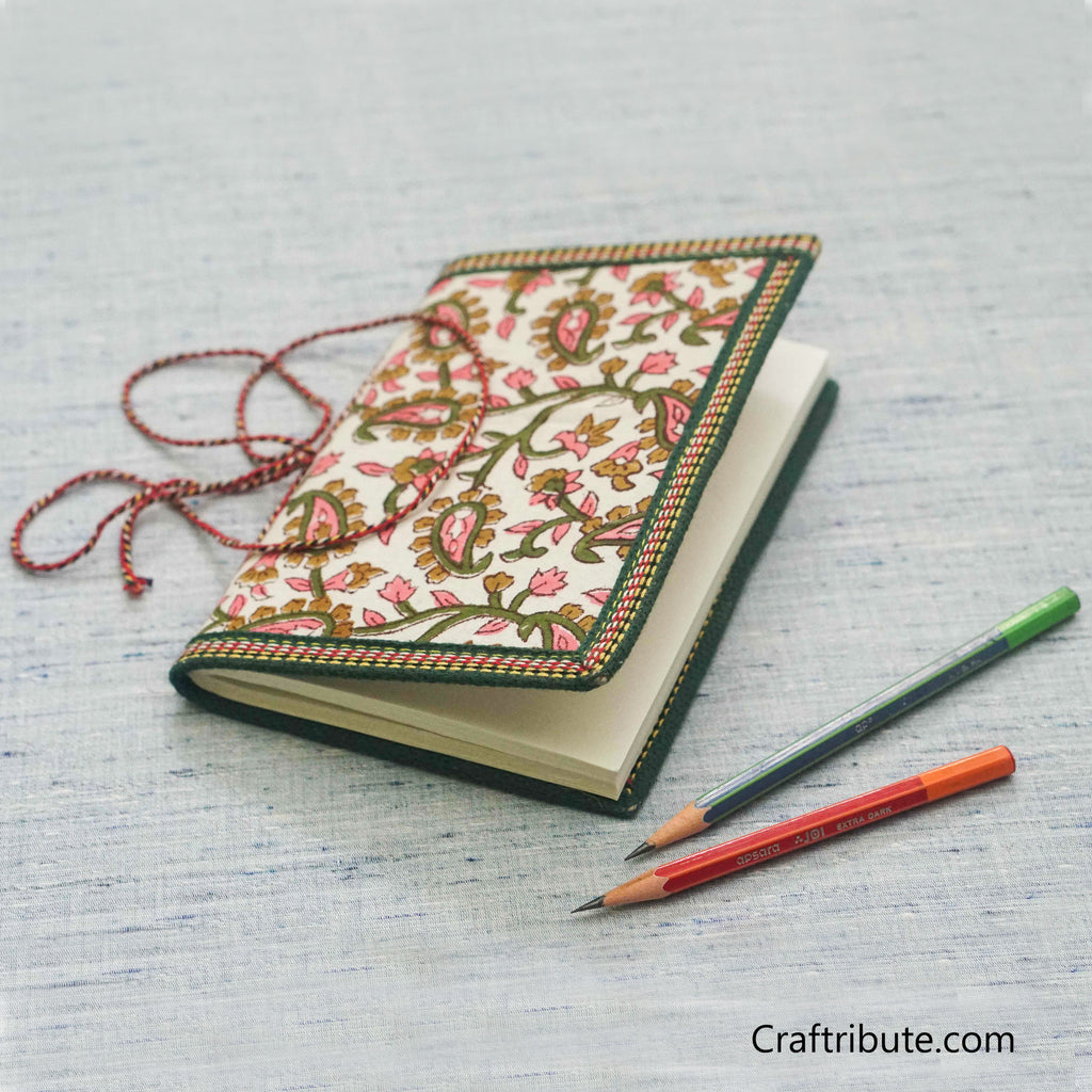 Handmade Paper Notebook with Paisley Design