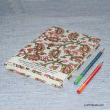 Handmade Paper Notebook With Pink & Green Paisley (Kairi) Design