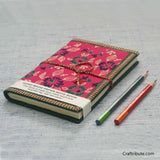 Handmade Paper Notebook with Green & Purple Floral Design