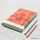 Handmade Paper Notebook with Red & Maroon Floral Design