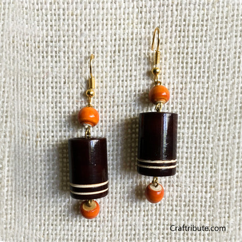 Cylindrical Shape Wooden Earrings - Brown & Orange