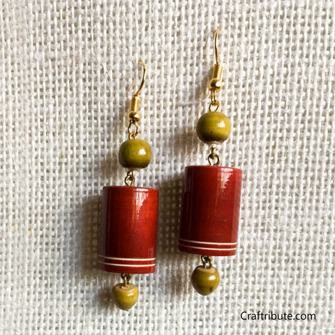 Cylindrical Shape Wooden Earrings - Red & Green
