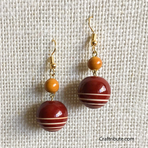 Sphere Shape Wooden Earrings - Red