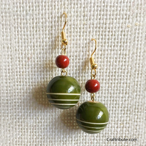 Sphere Shape Wooden Earrings - Green