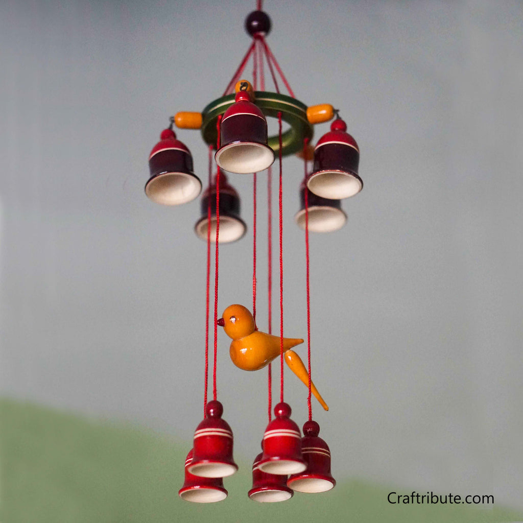 Handcrafted Wooden Bells Wind Chime - Small