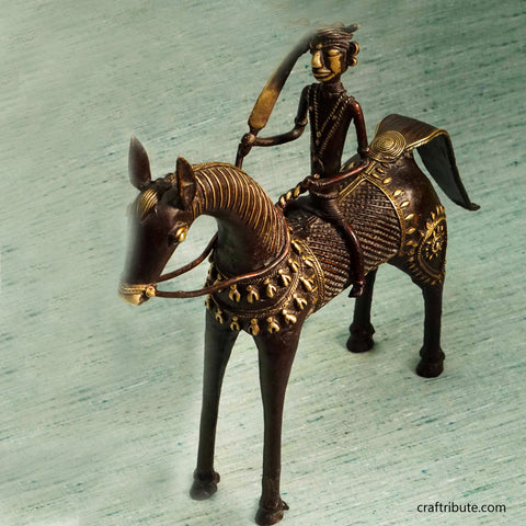 Handcrafted Dhokra Decorative Horse With Rider